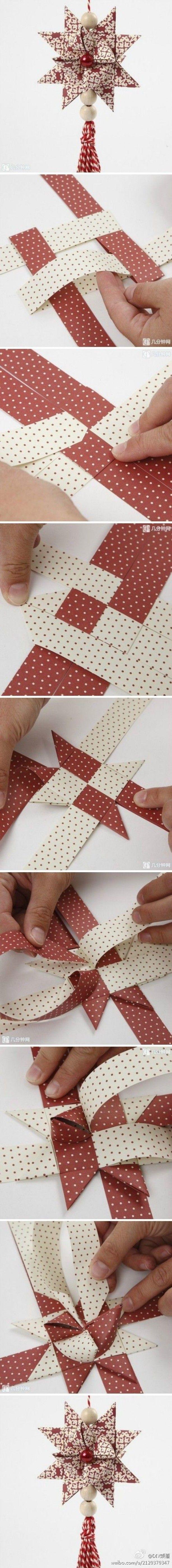 Kerstster vouwen met dubbelzijdig geprint papier of lint