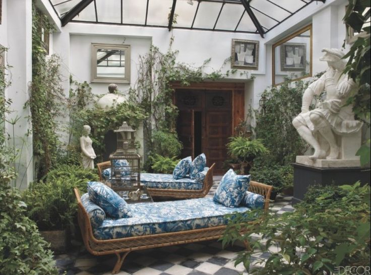 Courtyard in the home of Lorenzo Castillo in Madrid, Spain