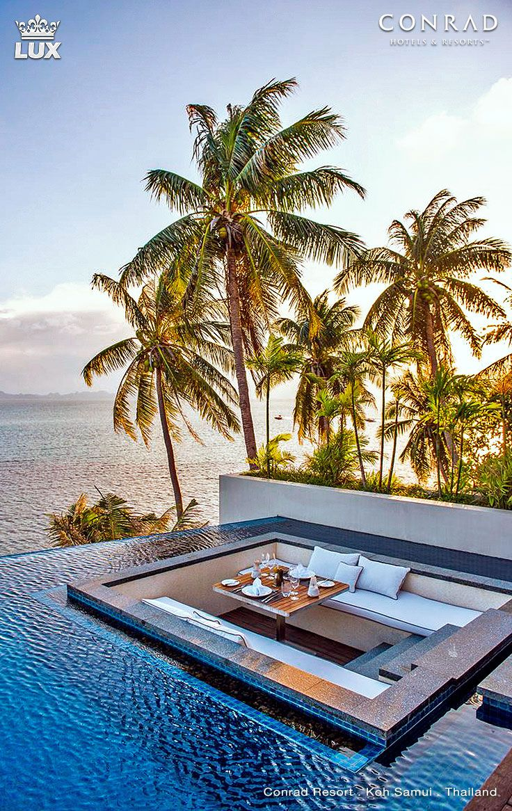 Conrad Koh Samui Resort & Spa in Thailand is surrounded by a dazzling azure sea and close to lush rain forests and located on the tropical island of Koh Samui. This luxury resort was named the Best Resort in Thailand by the Asia Pacific Hotel Awards 2014-2015. #kohsamui #beachresort #sparesort