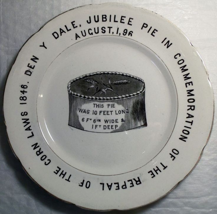 1896 JUBILEE ENGLISH IRONSTONE POTTERY PLATE DENBY DALE PIE REPEAL OF CORN LAWS