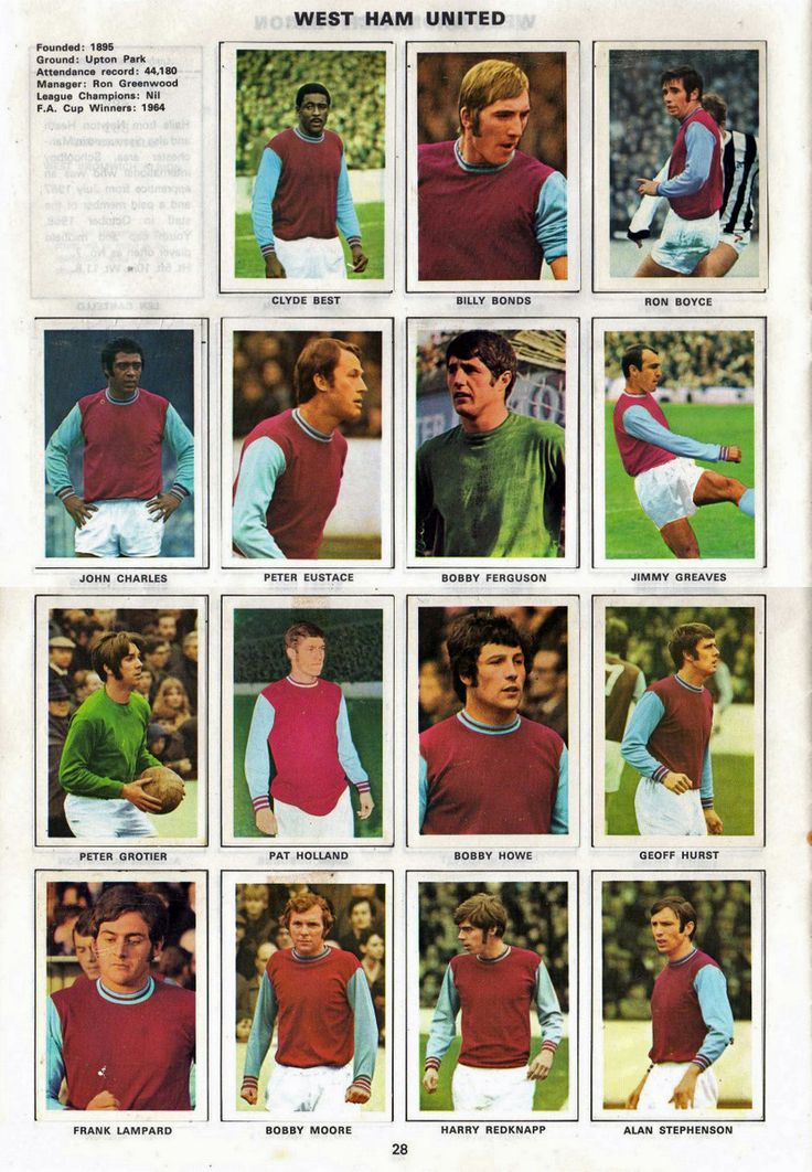 THE VINTAGE FOOTBALL CLUB: WEST HAM UNITED 1970-71. By Soccer stars.