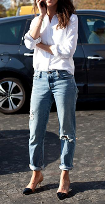 classic perfection - crisp white collared button up with loose light jeans rolled up. trade the heels for loafers.