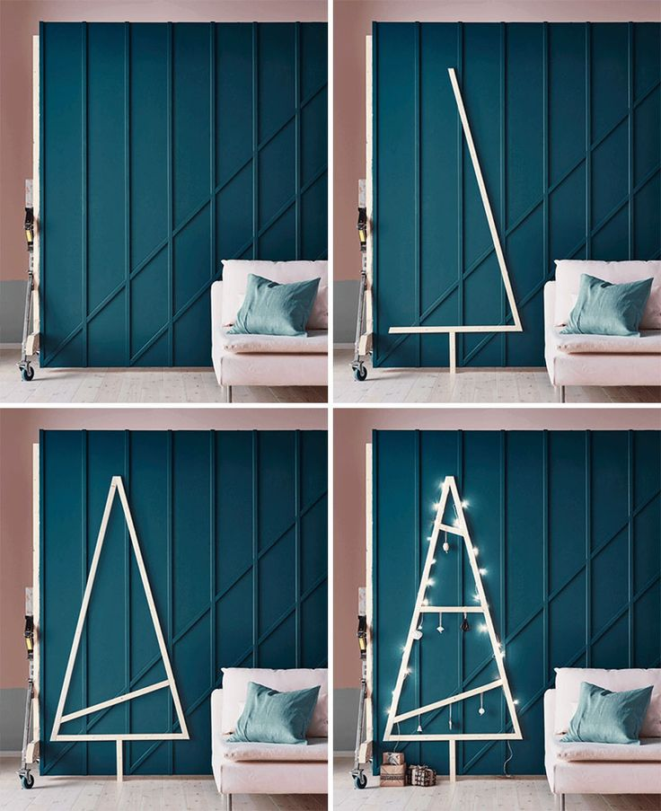 Christmas Decor Ideas - 14 DIY Alternative Modern Christmas Trees   Build this simple wood frame Christmas tree using scrap wood. Fill the inside with as much or as little wood as you like, and decorate it with some string lights and simple ornaments to make it extra festive.