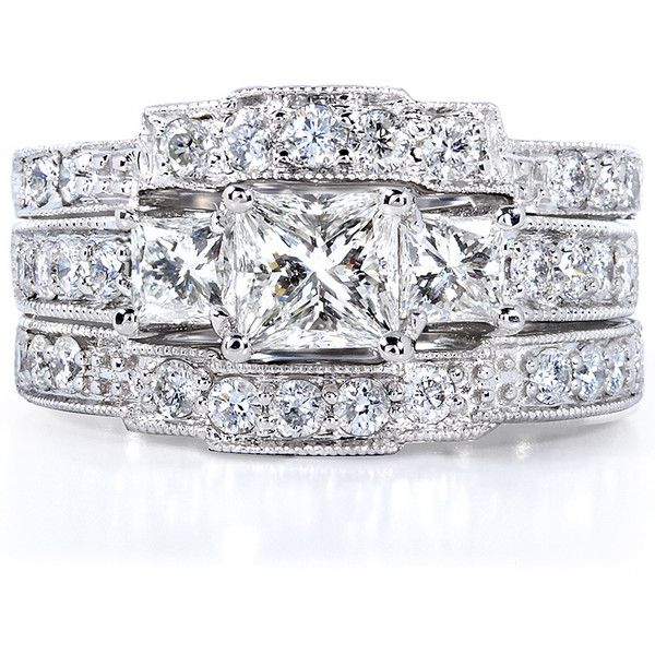 Annello 14k White Gold 1 7/8ct TDW Diamond 3-piece Bridal Rings Set ($2,494) ❤ liked on Polyvore featuring jewelry, rings, white, three stone diamond ring, diamond wedding rings, 3 stone engagement rings, diamond band ring and diamond engagement rings