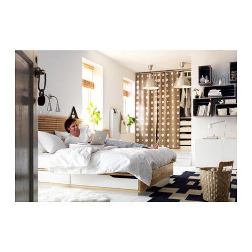 MANDAL Bed frame with head board, birch, white birch/white 63x79 1/2