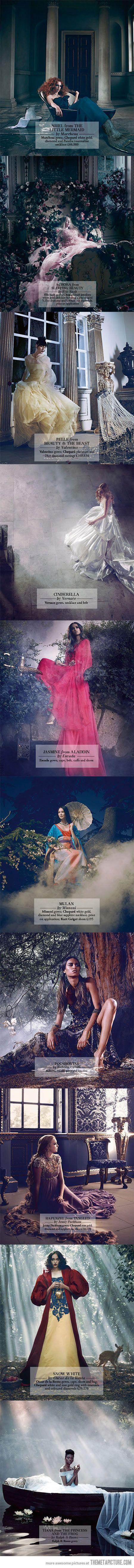Disney Princesses in real life…  Hands down, Snow White by Oscar de la Renta!