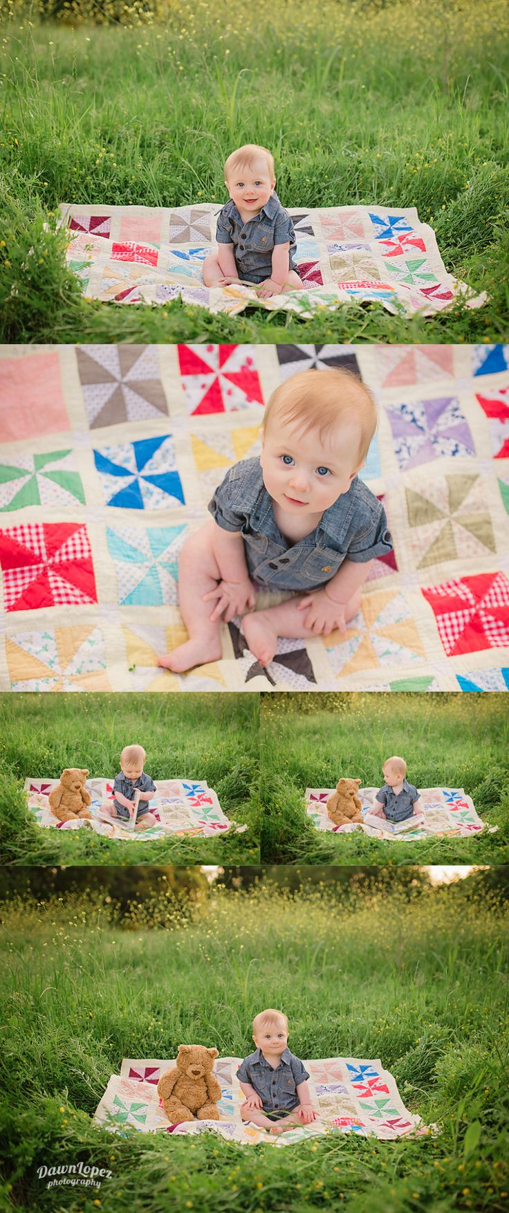 Outdoor 6 month old baby photo session, quilt, reading a book to baby bear. Keller, Texas photographer #dawnlopezphotography www.dawnlopezphotography.com