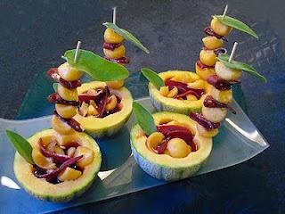 Melons au porto et magret. Un dessert délicieux et rafraîchissant
