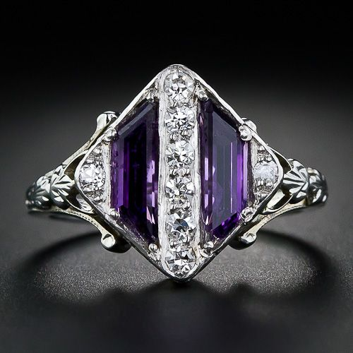 This unique and striking Art Deco ring, circa 1930s, is a work of jewelry art in purple and white - amethyst and diamonds that is.