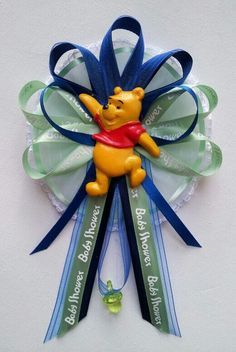 ♥ New Creations- Winnie the pooh Mommy Baby shower corsages ♥ All available items are listed for sale on Ebay at: http://myworld.ebay.com/fancylittlefavors1/