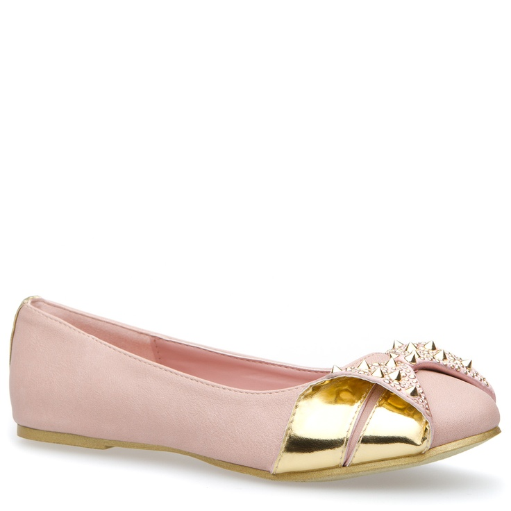 Tammy: Fancy Flats, Gold Flats, Pretty Flats Shoes, Studs Flats, Pink Flats, Ballet Flats, Tammy Flats, Baby Pink, Pink And Gold