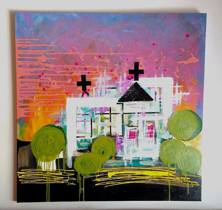 'Heaven's Fire over The Church on Gypsum' by Melanie Roberts. #Abstract #Modern #Contemporary Art