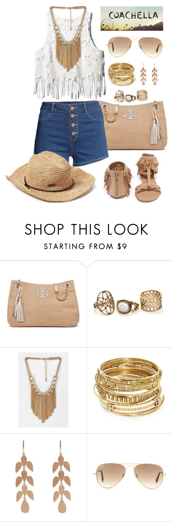 """Untitled #1342"" by mrs-rc ❤ liked on Polyvore featuring Tory Burch, ABS by Allen Schwartz, Irene Neuwirth, Ray-Ban and Qupid"