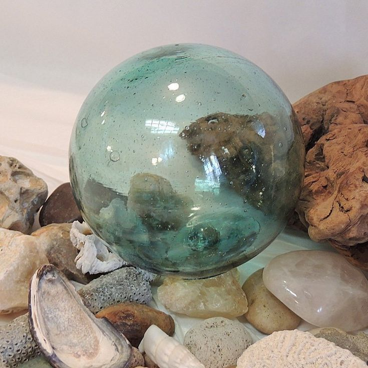 """Vintage 13"""" In Circumference Japanese GLASS FISHING FLOAT ..."""