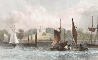 Belmont Castle, Near Grays Thurrock, Essex, England. Original steel engraving drawn by W. H. Bartlett, engraved by H. Wallis. 1832.