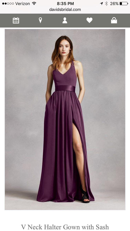David's Bridal V-Neck Bridesmaid Gown in Plum