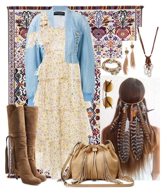 """""""I Am Your Gypsy🎵🎶"""" by bigskydreams ❤ liked on Polyvore featuring Tai Ping, Balmain, AlexaChung, Chloé, Robert Lee Morris, Lizzy James, Diane Von Furstenberg and Gas Bijoux"""