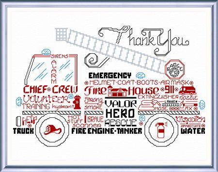 Lets Appreciate Firemen - cross stitch pattern designed by Ursula Michael. Category: Words.