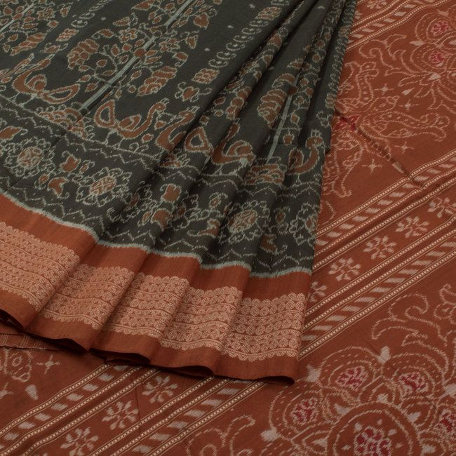 Buy online Handwoven Grey Tree Of Life Ikat Cotton Saree With Floral & Peacock Motifs 10012203