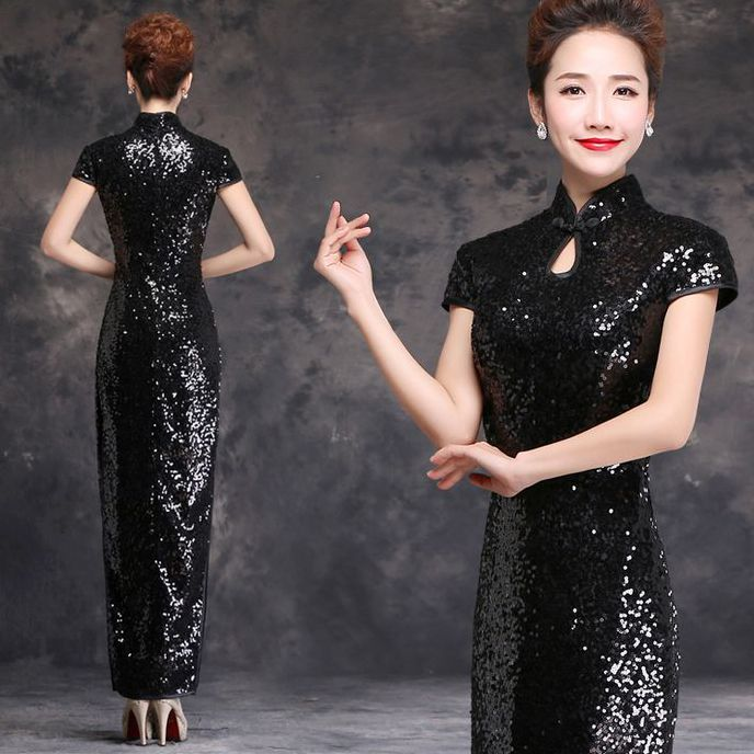 Shop elegant silk cheongsam, traditional Chinese red bridal dresses, sexy modernize Qipao from www.ModernQipao.com. Save 6% by share our products. Black sequins long high slit traditional cheongsam dress