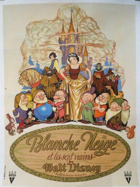 """""""Blanche Neige et les 7 nains"""" (1937) de Walt DISNEY. Affichette entoilée 60 x 80 cm. Imprimerie L. BEDOS. RKA Radio Films. - Delorme & Collin du Bocage - 02/02/2016"""