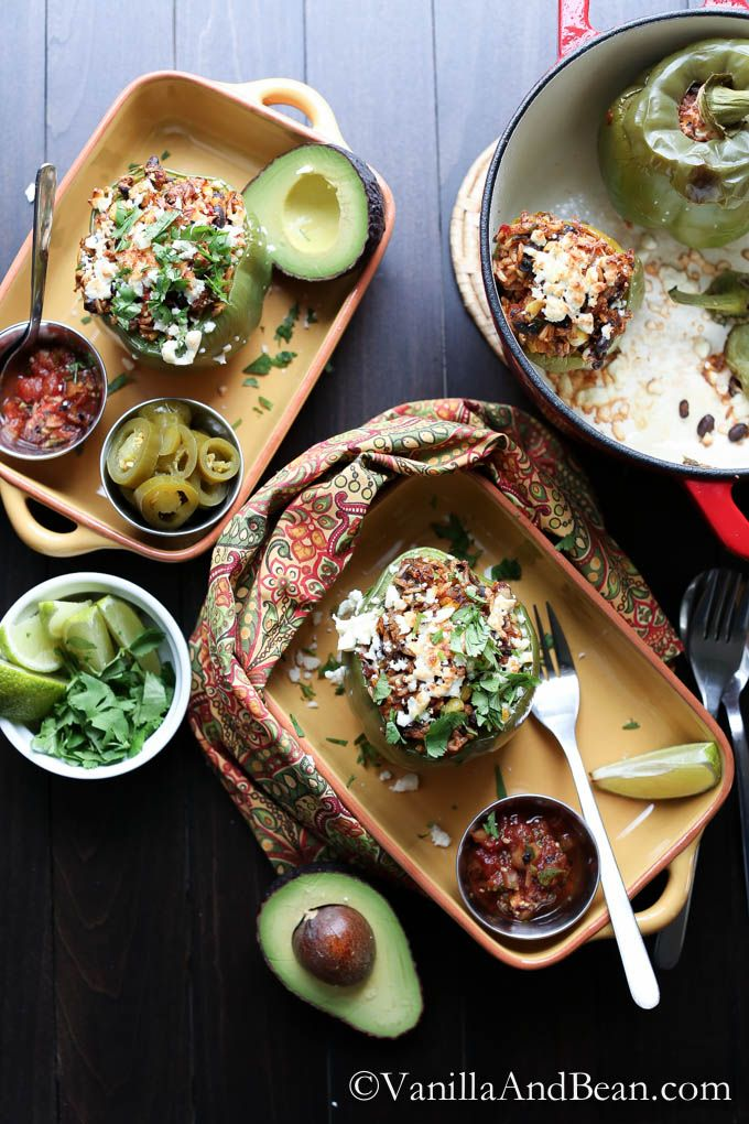 Spicy, whole grain, vegetarian. Tex Mex Stuffed Peppers from Vanilla And Bean.