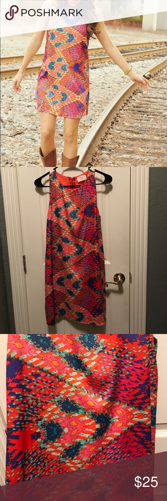 """Everly Dress Y'all! This is so cute! Perfect for brunch or a wedding- simply throw it on & add a necklace or earrings & you're all set! Size small & only worn once. Features a unique print in orange, navy, teal, sea foam green, pink and yellow. Model in pic is 5' 3"""" wearing a small! Everly Dresses Mini"""