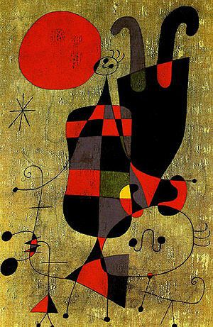 Joan Miro Painting (Figures and Dog in Front of the Sun) 1949