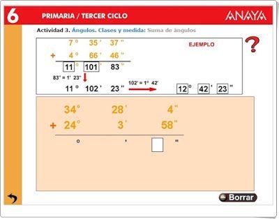 Suma de medida de ángulos. Recursos didácticos interactivos Anaya. Matemáticas de 6º de Primaria.