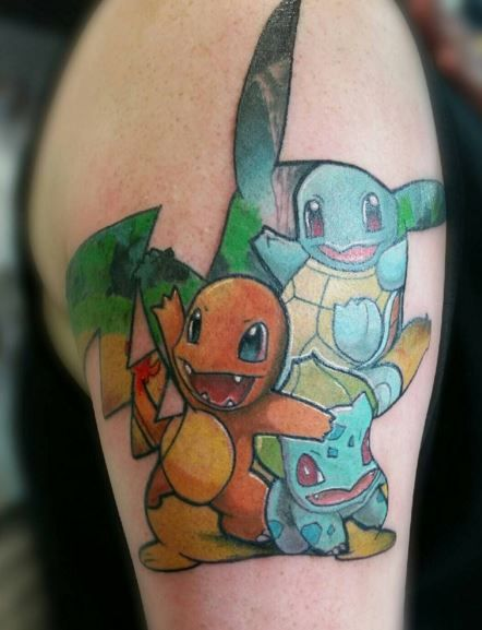 Pokemon Tattoo Of The Three Kanto Starter Pokemon Charmander Squirtle And Bulbasaur! In The Shape Of Pikachu :) #Pokemon #PokemonTattoo #Tattoo