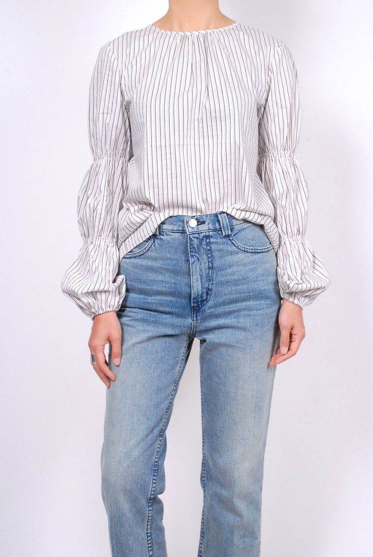 Tibi Luxe Striped Shirting Juliet Sleeve Top