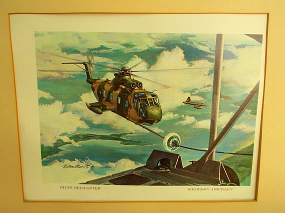 USAF Signed Victor Olson Sikorsky Aircraft HH-3E Helicopter /