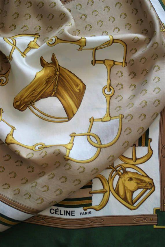 Designer Celine Paris vintage pure silk soie seide seta seda