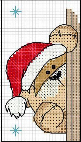 Orsetto di Natale - punto croce - cross Stitch - Kreuzstich - Punto de Cruz