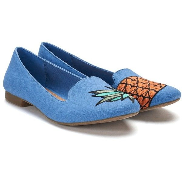 SO® Anchovy Women's Pineapple Ballet Flats ($22) ❤ liked on Polyvore featuring shoes, flats, blue, ballet flats, blue flat shoes, ballet pumps, blue flats and flat pumps