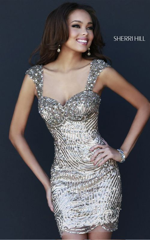 Sherri Hill 9719 Short Gold Prom Dress  www.puddycatshoes.com