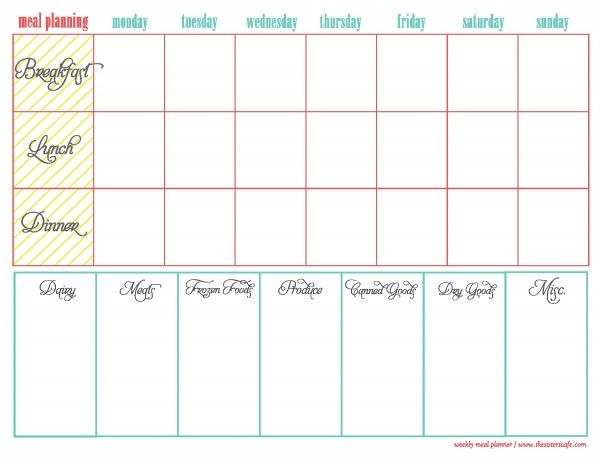 breakfast lunch and dinner menu template - weekly menu plan clever ideas pinterest