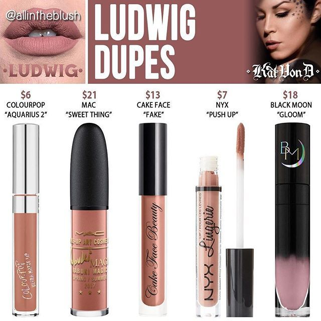 As requested, I have began duping Kat Von D's new Spring '17 Everlasting Liquid Lipsticks! The first one up on the list is #LUDWIG dupes! More details and swatches are on allintheblush.com  Which shade would you like to see duped next?! #allintheblush #