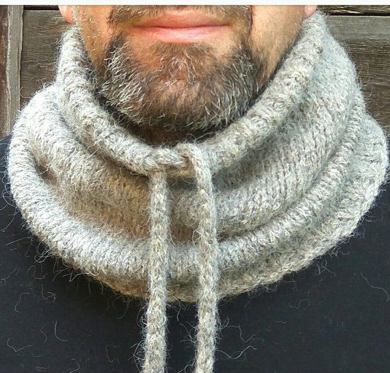 Gray Chunky Cowl Wool Neck Warmer Warm Men Snood Bulky Knit