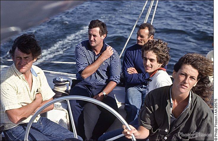 Florence Arthaud, Eric Tabarly, olivier Kersauson et Patrick Morvan à bord de Jet Service