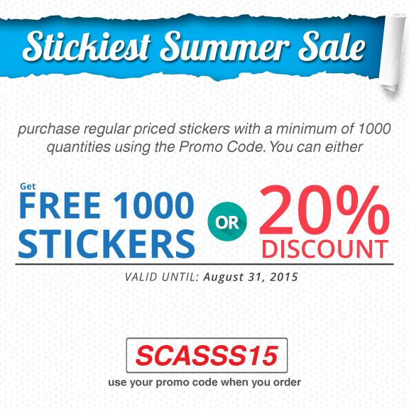 Sale Extended! Stickiest Summer Sale is still available until 31st of August. Free 1000 Stickers or 20% Stickers. Use Promo Code when you order - SCASSS15.
