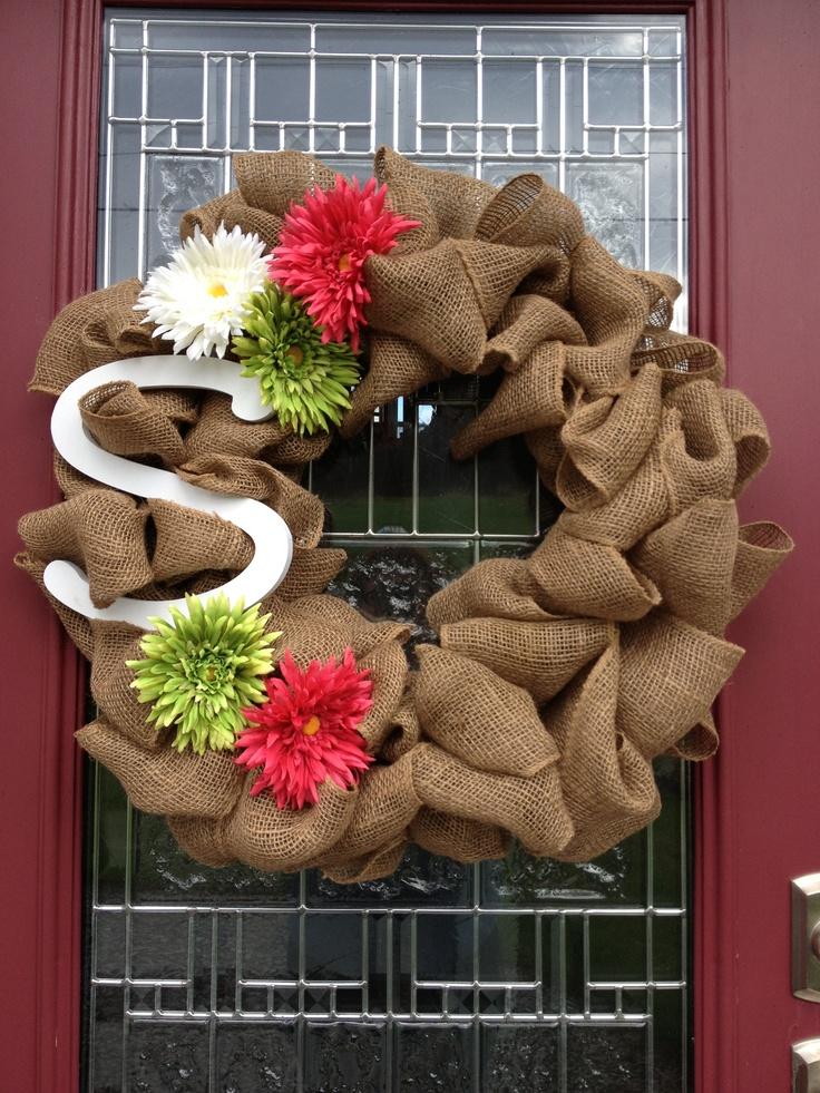 Front door burlap initial wreath