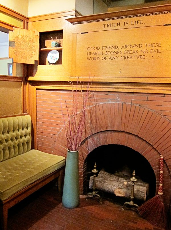 Fireplace in Frank Lloyd Wright Home and Studio, Oak Park, IL.  (from rachelleb.com)
