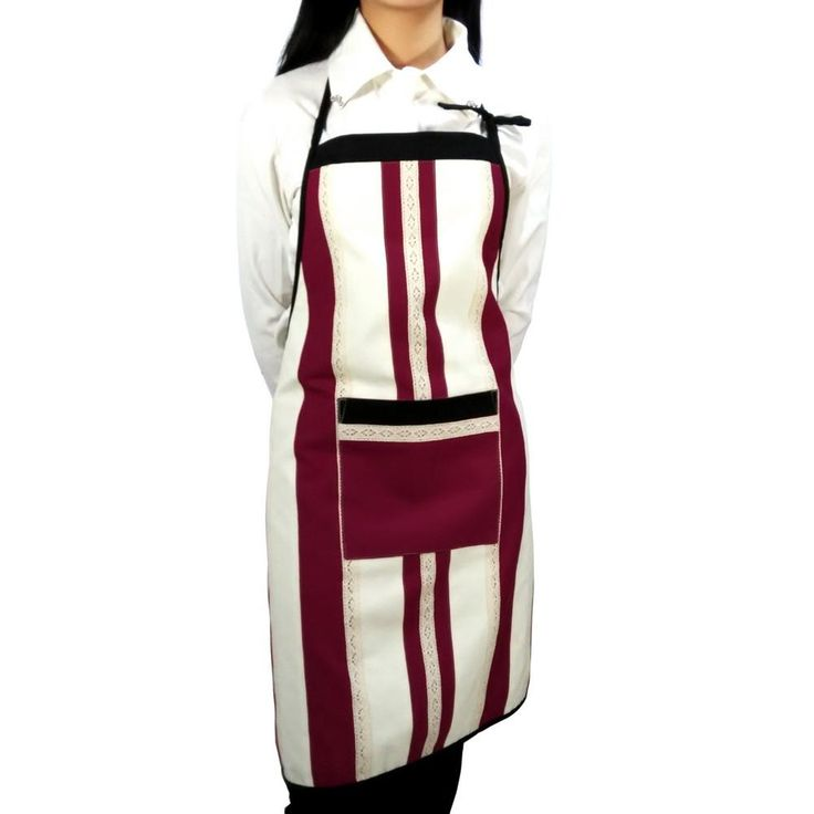 [Vertical Bar] Patchwork Chef Work Apron Durable Women Men Apron with Pocket