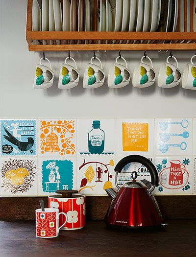 Credit: Jan Baldwin Kitchen tiles are by Rob Ryan, Wolfenden's friend and sometime collaborator.