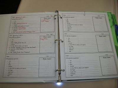Eat. Write. Teach.: The Absent Binder - she bubbles in the items they complete in class and add the details in.  Write down all of the information in one place with the names of absent students in the box next to it.  Brilliant!