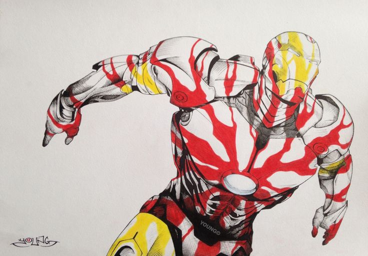 Ironman A3  Pen and Coloured Pencil