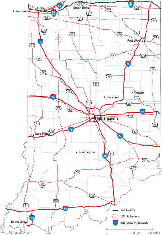 Map Of Indiana Cities  50 States Collect The Whole Set