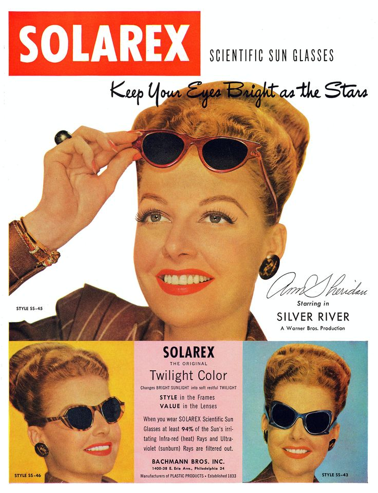 Ann Sheridan for Solarex Scientific Sun Glasses, 1948