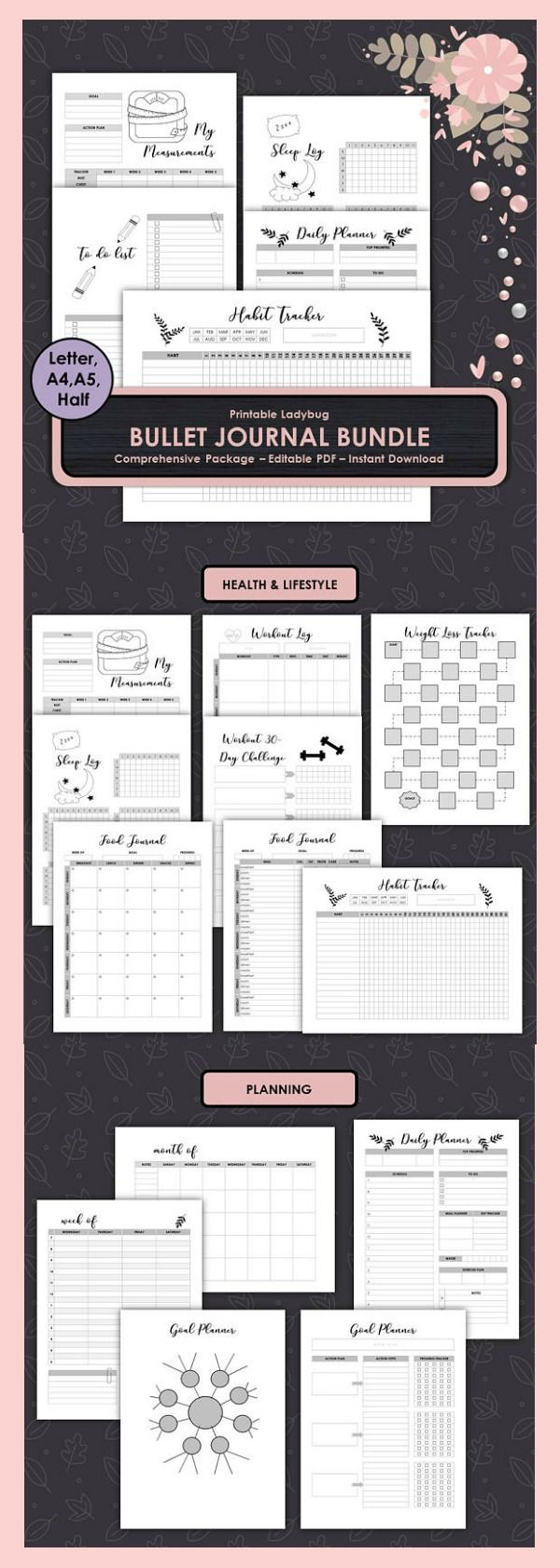 Save time getting organized and instantly print this beautiful bullet journal by PrintableLadybug ~ Bullet Journal,Printable Bullet Journal,Graph Paper,Dot Grid,Bullet Journal Notebook,Printable Bujo,Bullet Journal Template #affiliate #bujoprintable #printableplanner #bulletjournals